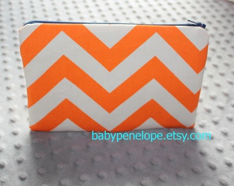 Pencil Case/Cosmetic Bag/ Gadget Case - Orange Chevron and Navy - Ready to Ship