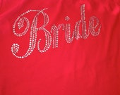7 rhinestone bachelorette party shirts . Bridesmaid title shirts . Bridesmaid half lace tank tops . Red, purple, royal blue, hot pink, aqua