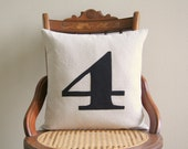"number pillow cover, typography font, industrial rustic, black appliqued, 16"" x 16"", urban farmhouse cottage home decor"