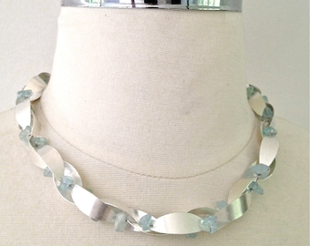 beautiful, simple aquamarine and silver leaf necklace