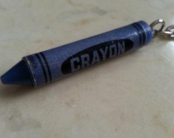 Vintage Crayon Key Chain Key Ring Purple Blue 1980s