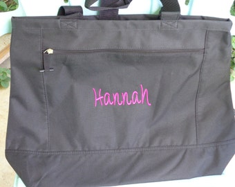 Set of nine monogrammed bridesmaids totes that are made to order.