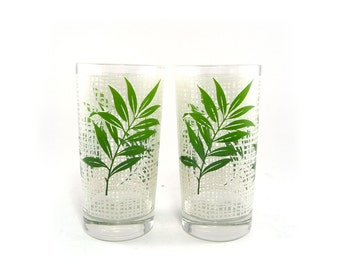 White and green bamboo drinking glasses by M Petti. Vintage glassware. Tropical decor.
