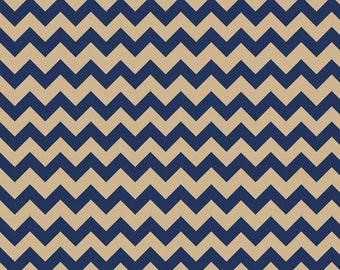 Riley Blake Fabric - Half Yard of Small Chevron in Navy/Tan