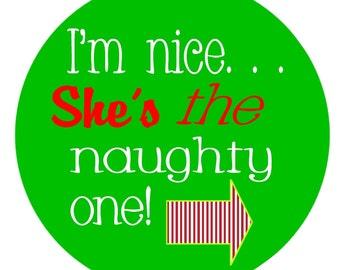 Christmas Iron on Naughty and Nice Too