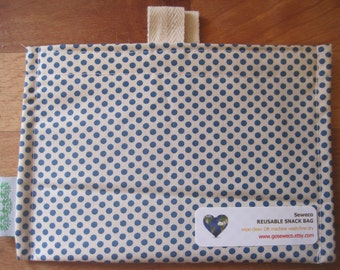 Blue Dots  Eco Friendly Snack Bag by Seweco/Easy Open /Child Friendly Tabs/FOOD SAFE