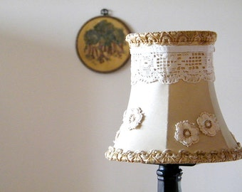 Fabric Shabby chic lampshade, Fabric Lace Lamp, Retro lighting, Table Rustic lampshade, Antique lace , floral home decor.