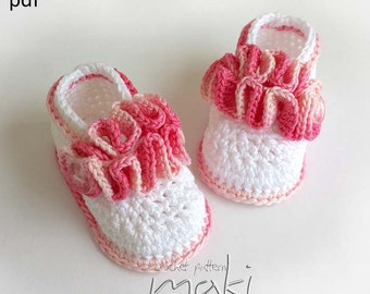 Baby crochet pattern - Baby booties wavy ballerina - Permission to sell finished items. Full of large pictures! Pattern No. 120
