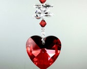 m/w Swarovski® Crystal BIG 40mm Red Magma Heart Beaded Car Charm Sun Catcher Home Ornament & Double Stack Octagons, Pearl Place N More