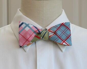 Men's Bow Tie in multi color Madras plaid (self-tie)