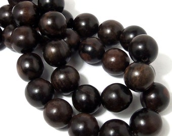 Ebony Wood, 19mm - 20mm, Round, Smooth, Natural Wood Beads, Large, 8 Inch Strand, 10-11pcs - ID 1711