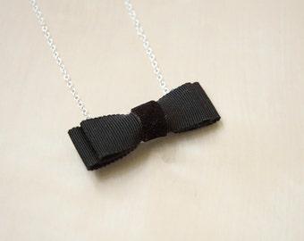 Sterling Silver Black Grossgrain Velvet Bow Cute Handmade Necklace
