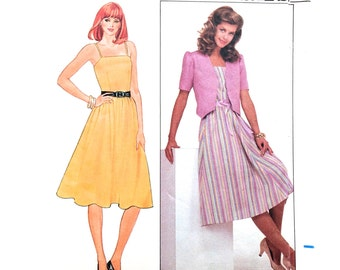 70s Butterick 4396 Sun Dress with Flared Skirt and Puff Sleeve Jacket - Size 10 Bust 32