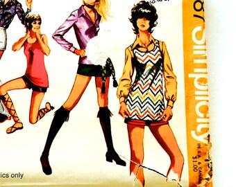 70s Simplicity 9487 Tunic Tank Top, Short Shorts, Blouse Size 16 Bust 38 MOD