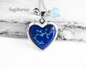 """Get 15% OFF - Double Sided - Handmade Resin """"Sagittarius"""" Constellation Sign Silver Heart-shape Locket Necklace - Black Friday SALE 2015"""
