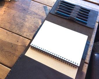 Hunts Sketchbook, handmade leather journal, refillable sketchbook, 8.5x11 art journal, large leather journals/ sketchbooks/notebooks by Aixa