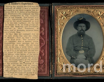 Rare 1860s 1/4 Photo ID'd Civil War Soldier 70TH OHIO Infantry + News Clipping