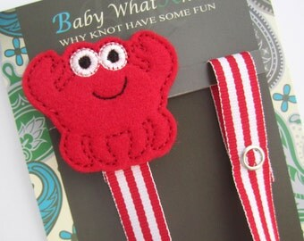 Red Crab Pacifier Clip, Ocean Pacifier Clip, Pacifier Holder, pccrab01