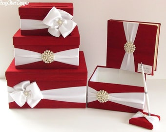 Wedding Money Box Set, includes guest book, pen and program box, shown in red and white