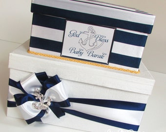 Baby Shower Card Box Nautical Bridal shower card box, Custom Made to Order
