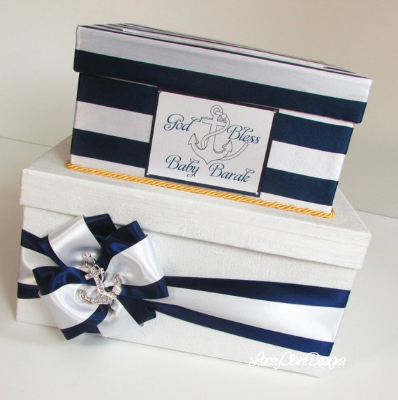Wedding Shower Gift Card Box : Baby Shower Card Box Nautical Bridal shower card box, Custom Made to ...