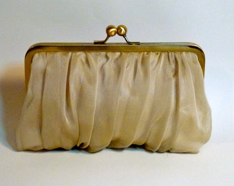Bridal Clutch|Bridesmaid Clutch|Chiffon Clutch | Champagne Customize Colors
