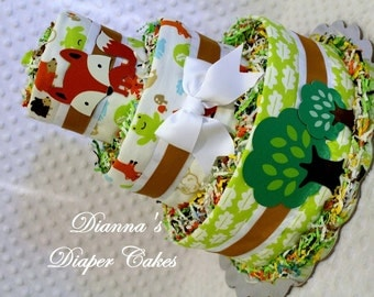 Woodland Animals Baby Diaper Cake  - With Surprise Topper - Shower Gift or Centerpiece
