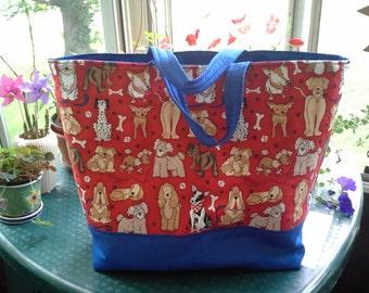Dog printed, blue lined, large Tote Bag with inside pocket