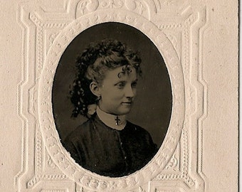 Antique Tintype Photo  - Beautiful Woman wearing Cross Necklace - Long  Curly Hair - Old Photo