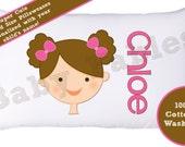 Personalized Pillowcase, Brunette Blonde Redhead, Little Girl Pillow, Room Decor, Child's room, Girls Pillow, Lookalike Child's Pillowcase