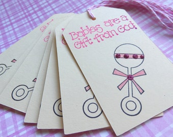 Baby Tags - Rattle- Babies are a gift from God -  It's a GIRL tags (8)