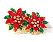 Mistletoe Rhinestone Clip on Earrings in Festive Bright Red and Green on Gold Tone with White Stones -  Vintage Christmas Holiday Jewelry