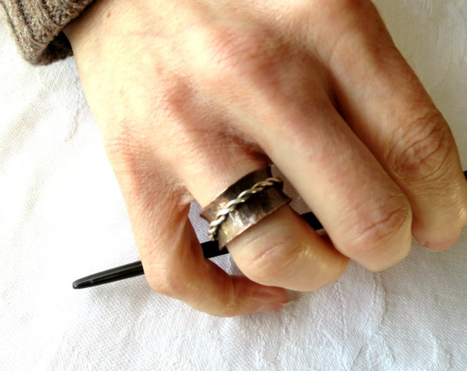 Rustic Ring Spinner Wide Band Ring Unisex Eco Friendly Copper Silver Braid Ring Handmade