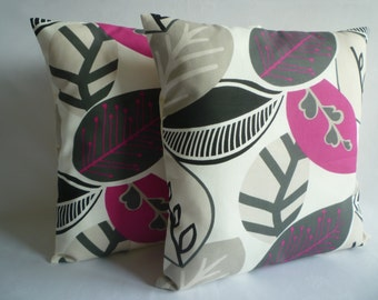 "PAIR Pink Cushion Covers Pillows Fuschia Floral Designer Throw Scatter 16"" (40cm)"