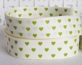 CLEARANCE SALE*FREE Shipping ~ 4 yards x Green Small Hearts 25mm Grosgrain Ribbon - Hair Bow Ribbon -Sewing Notions-Scrapbooking