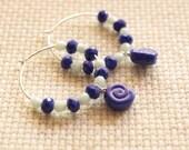 Snail Hoop Earrings, Summer Earrings, Nautical Earrings, Glass Earrings, Sterling Silver Hoops