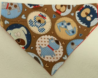 It's a Pooch Life! Gingham, Hearts Dots and More...Brown & Brown Theme Bandana. Custom For UR Ferret Cat Dog. All Bandanas are Reversible.