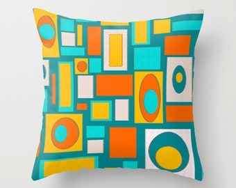 Modern Pillow Cover, Geometric Pillow Cover, Mid Century Modern Pillow Cover,  Retro Pillow Cover,  Decorative Pillow Cover