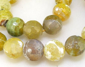 "Candy Faceted Yellow Agate 14mm Gemstone beads Loose One strand 15"" Charm Agate Jewelry for your handwork jewelry"