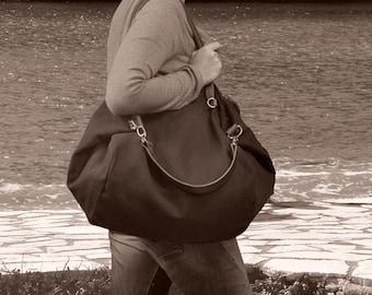 Cotton- linen Italian canvas, shopping bag - Julia in dark grey color.From iyiamihandbags MADE TO ORDER