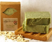 Olive Oil Soap, Oatmeal Mint, made with organic oils and essential oils, FREE SHIPPING, by greenbubblegorgeous