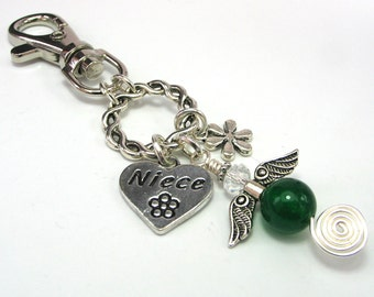 Niece Guardian Angel Purse or Bag Charm, Green Agate Gemstone Angel, Heart Charm, Christmas Gift