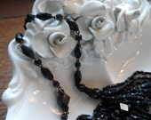Mourning Necklace, Faceted Glass Beads Wired Together with Glass Fringe