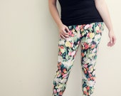 RESERVED for Natalie Vintage Floral Leggings // 80s 90s Swag Large // Women // Orange Black Pink // Stretch Pants // Fall Fashion