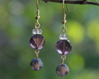 Purple Glass Beaded Dangle Earrings