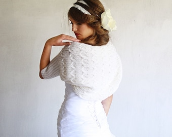 Ivory White Shrug Bridal Bolero Wedding Shrug Handknitted For Weddings  Special Occasion Shrug / Anniversary / Engagement