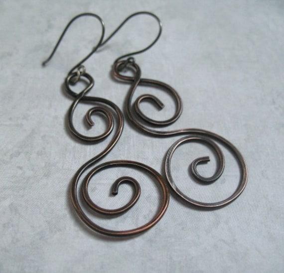 Handmade Copper Earrings Long Swirls Copper Jewelry