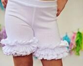 Girls Ruffle Shorts in White