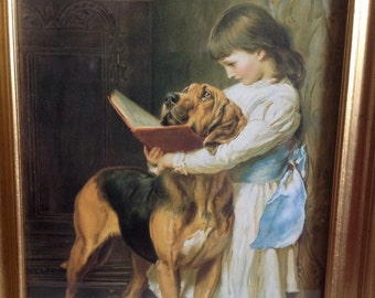 Sweet Picture Wall Hanging of Girl and Her Dog U.K.