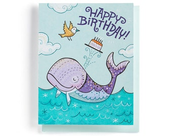 Birthday Card: Whale and Bird are friends, love cake. Illustrated and hand-lettered in blue, purple and yellow